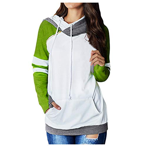 Kauneus Women's Plus Size Stripes Patchwork Sweatshirt Fake Two Pieces Hooded Novelty Pullover With Thumb Holes