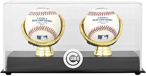 Chicago Cubs Engraved Baseball - Chicago Cubs Gold Glove Double Baseball Logo Display Case