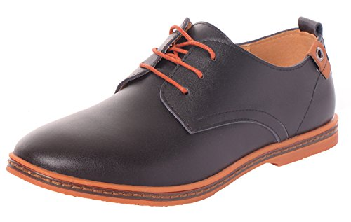 Runday Men's Fashion Business Leather Shoes Breathable Round Toe Lace Up Casual Oxfords(10 D(M)US,black) (10 D(M) US, - Australia Online Shoping