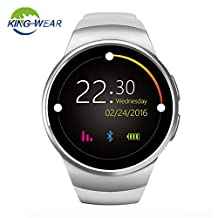 KING-WEAR Bluetooth Smart Watch, KW 18 Round Touch Screen Wristwatch with SIM TF Card Slot Heart Rate & Sleep Monitor and Pedometer Activity Watch for Android and IOS (White)