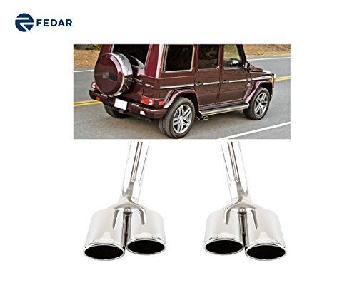 Fedar Stainless Steel Exhaust Tailpipe Tip for Mercedes Benz W463-G500/G63/G550 ()