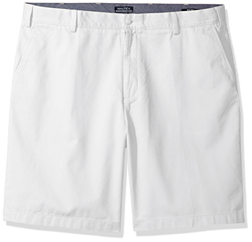 Nautica Men's Big and Tall Cotton Twill Flat Front Chino Deck Short-C92110, Bright White, 48W by Nautica
