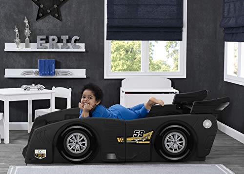 Delta Children Grand Prix Race Car Toddler & Twin Bed - Made in USA, Black 2