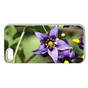 Purple Flowers - Case Cover for iPhone 5 and 5S (Flowers Series, Watercolor style, White)