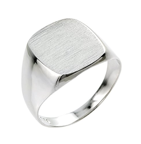 Men's 925 Sterling Silver Engravable Square Top Signet Ring (Size 8)