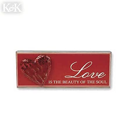 Amazoncom Love Is The Beauty Of The Soul Wood Brick Plaque With