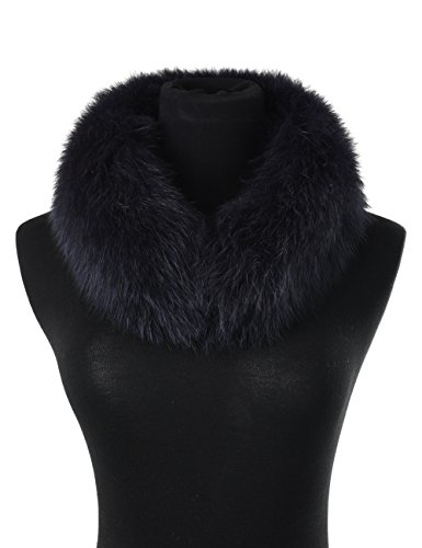 Blue Fox Fur Scarf (Ferand Women's Elegant Warm Real Fox Fur Stand-up Collar Scarf, Soft Neck Warmer for Winter, Navy blue)
