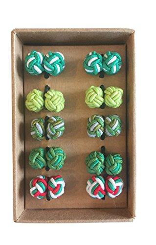 Rammentare Silk Knot Cufflinks - Gift Set 5 Pairs - Mixed Green