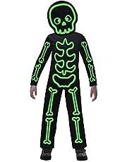 Amscan 9907099 - kinderkostuum oplichtend skelet, voor jongens en meisjes, glow in the dark stick, full-body kostuum, carnaval, themafeest, Halloween