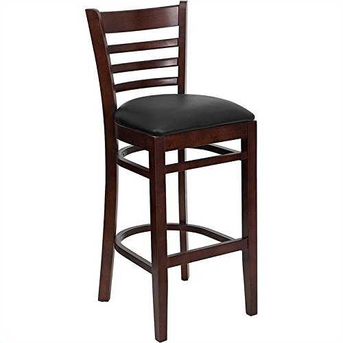 Flash Furniture HERCULES Series Ladder Back Mahogany Wood Restaurant Barstool - Black Vinyl Seat (Wood Ships Ladder)