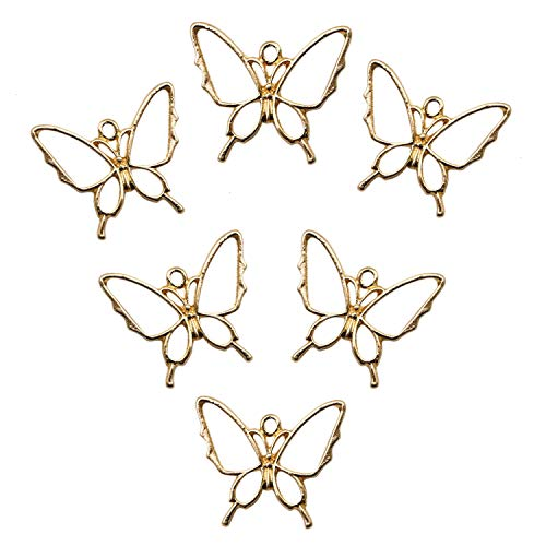 Charm Jewelry Resin (JETEHO 10 PCS Gold Butterfly Metal Frame Pendant 2926 mm Open Bezel Setting UV Resin Craft Pendants for Jewelry Making)