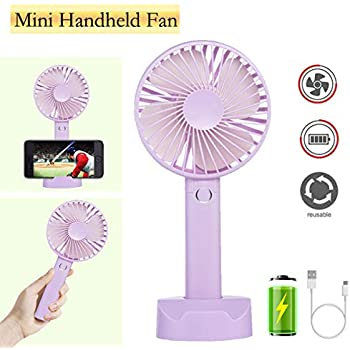 Battery Handheld Fan, Portable Battery Operated Fan : Rechargeable & Adjustable 3 Speeds Mini Personal Electric USB Fan with Desk Stand for Home/Office/Travel/Outdoor (Purple)