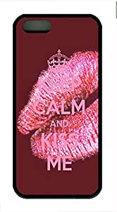 Keep Calm And Kiss Me Cover Case Skin for iPhone 5 5S Soft TPU Black