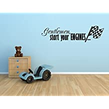 GENTLEMAN START YOUR ENGINES WITH CHECKERED FLAG RACING RACE CARS VINYL WALL DECAL STICKER BOYS KIDS ROOM HOME DECOR