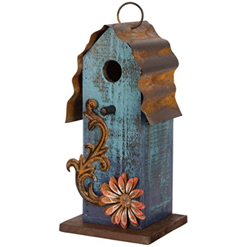 Carson - Aqua Blue w/ Red Flower Wood & Tin Roof 10'' Hanging Birdhouse