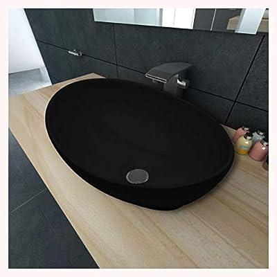 "K&A Company Luxury Ceramic Basin Oval-Shaped Black 16.1""x13.4"""