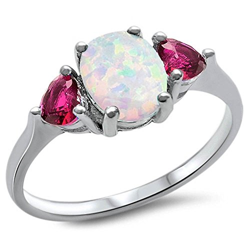 Sterling Silver Oval Lab Created White Opal & Simulated Ruby Heart Ring Sizes 4 - 10