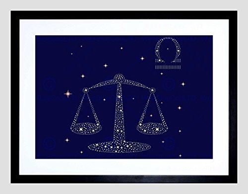 Libra Zodiac Scales - PAINTING ILLUSTRATION ZODIAC STAR SIGN LIBRA SCALE BLACK FRAME FRAMED ART PRINT PICTURE + MOUNT B12X12968