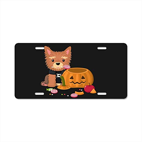 YEX Beautiful Halloween Yorkshire Terrier Dog Art Metal License Plate Frame Car Licence Plate Covers Auto Tag Holder 6
