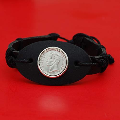 - 1960 Venezuela 50 Centimos 0.835 Silver BU Uncirculated Coin Genuine Leather Wristband Bracelet NEW - Head of Bolivar