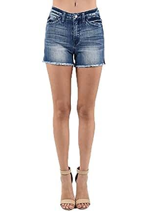 KanCan High-Rise Mid Length Denim Shorts (Medium, Dark