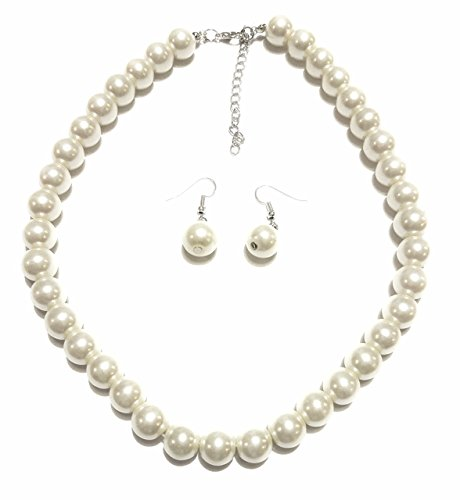 (Large Faux Pearl Necklace and earring set By Millennium Design )