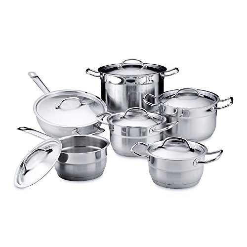 Berghoff Hotel 18/10 Stainless Steel 12pc Cookware Set with Cover Lids - Perfect Kitchen Cookware - Dishwasher Safe