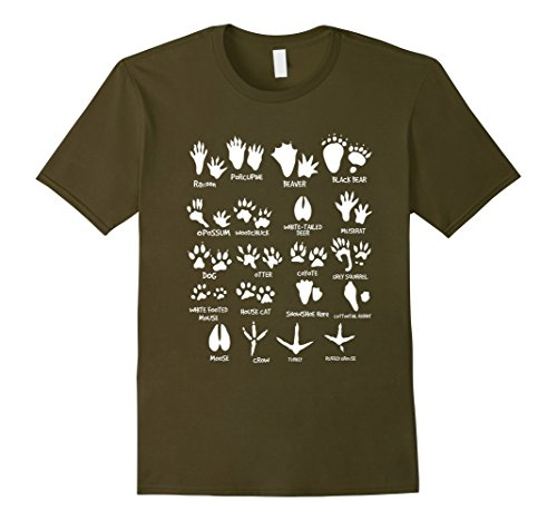 te Tracks of the Northeast USA T-shirt Large Olive (Animal Tracks T-shirt)