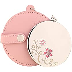 MILESI Women's Cherry Blossom Round Pink Makeup Mirror with Leather Holster