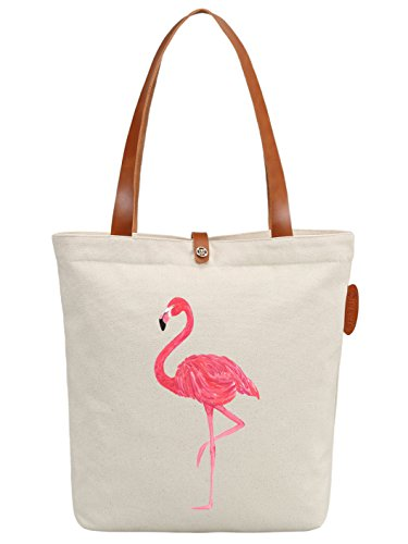 IN.RHAN Women's Flamingo Graphic Canvas Tote Bag Casual Shoulder Bag Handbag