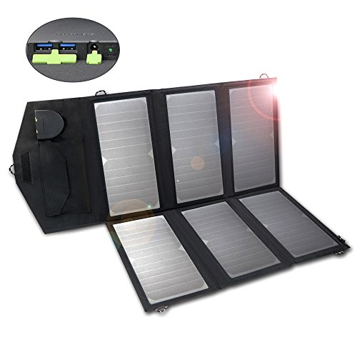 ALLPOWERS 18V 36W Solar Charger (Dual 5V USB+18V DC Output) SunPower Solar Panel Charger with iSolar Technology for Laptop, ipad, iphone, Samsung, Acer, Asus, Dell,Lenovo and 12V Car, Boat, RV Battery by ALLPOWERS