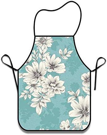 NA Keukenschort voor Restaurant Duurzaam BBQ Chef Professionele Schort WaterdichtTeal Floral