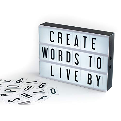 My Cinema Lightbox - The Original LED Marquee Lightbox, Includes 100 Letters & Numbers to Create Changeable Signs, Battery or USB, A4 Black, Includes Letter Storage and USB -