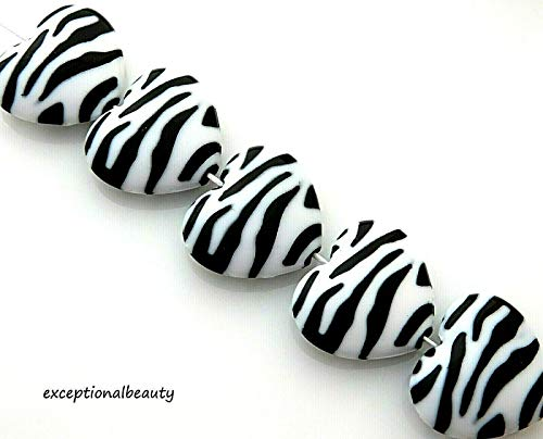 10 Opaque Black White Zebra Stripe Print 26x23mm Big Heart Acrylic Craft Beads