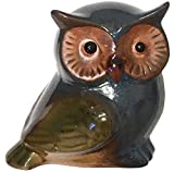 Secret for Longevity Small Blue Brown Olive Green Earth Tones Ceramic Indoor Outdoor Owl Statue Figurine Home Decor