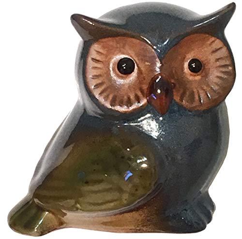 (Secret for Longevity Small Blue Brown Olive Green Earth Tones Ceramic Indoor Outdoor Owl Statue Figurine Home Decor )