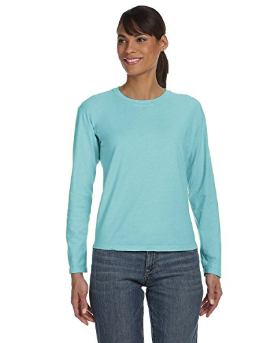 Comfort Colors Ladies' Ringspun Garment-Dyed Long-Sleeve T-Shirt, Chalky Mint,