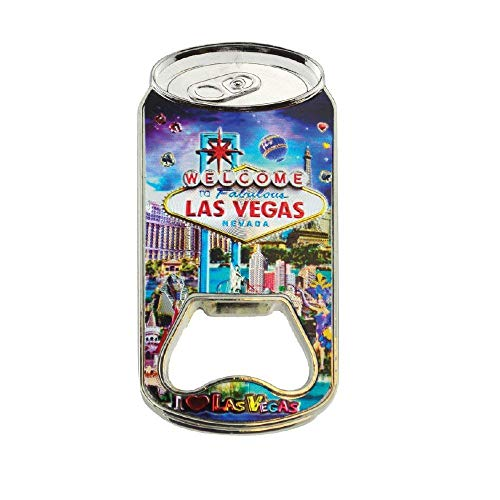 Bottle Opener Magnet Welcome to Las Vegas Souvenir Stainless Steel Bottle Opener and Magnet Purple Color Makes a Great Souvenir Collectible and - Beer Souvenir