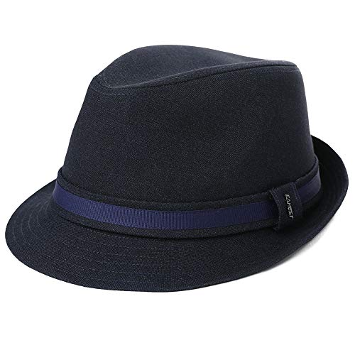 Mens Homburg Gangster Hat Fedora 1920s Derby Hat Frank Sinatra Manhattan Mafia Godfather Fall Winter Navy Blue