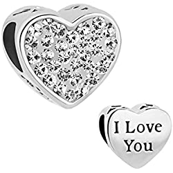 I Love You Heart Charm Clear White Crystal Rhinestone Charm Bead Fit Pandora Bracelet Valentine's Day Gifts Idea