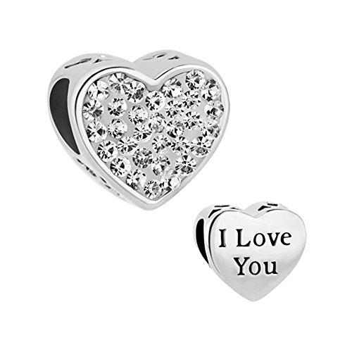 (Christmas Jewelry I Love You Heart Charms White Crystal Birthstone Beads Fit Charm)