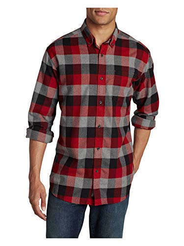 Eddie Bauer Gear - Eddie Bauer Men's Eddie's Favorite Flannel Relaxed Fit Shirt - Plaid, Flame Regu