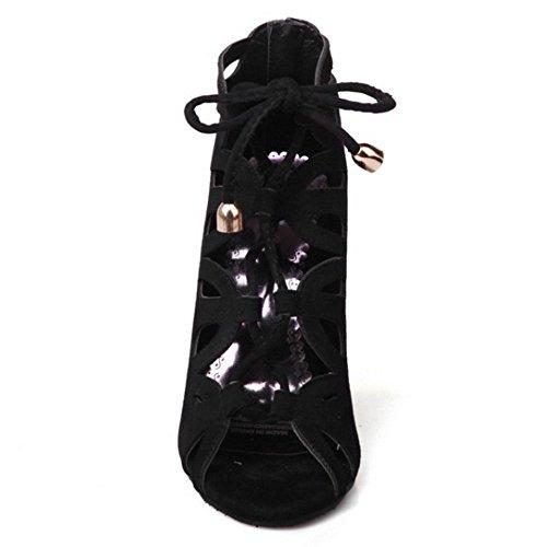Cordones Mujer Black Tac¨n Moda Sandalias Alto Zanpa xUwIfq8I4