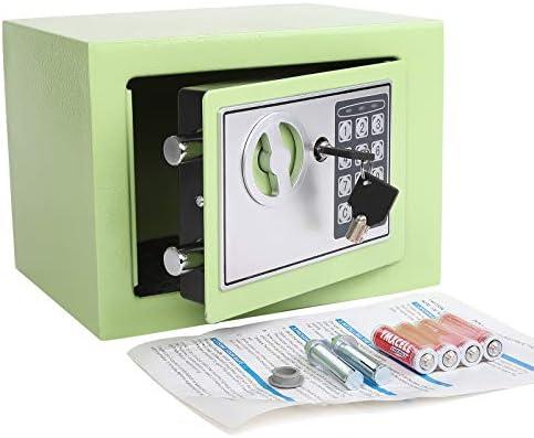 Yuanshikj Electronic Deluxe Digital Security Safe Box Keypad Lock Home Office Hotel Business Jewelry Gun Cash Use Storage Light Green 17E