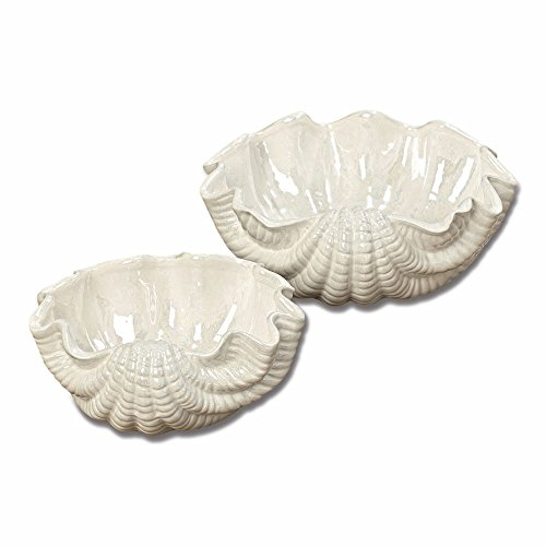 The Romantic Hamptons Half Shell Dishes, Set of 2, White Porcelain, 9 and 7 Inches Wide, Textured Scallop By WHW (Shell Dish Candy)
