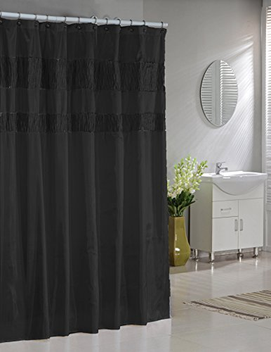 Pleated Fabric Shower Curtain (Faux Silk Fabric Shower Curtain: Shimmering Metallic Accents (Black))