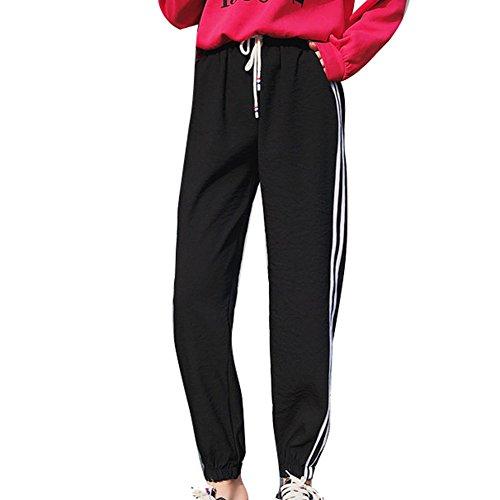 Sport Media Lunghi Casuale Fitness Fit Righe Pantaloni Nero Vita Loose Vita con Pantaloni Moda Pantaloni per Palestra Coulisse a Donna Confortevole Elastica qaU50