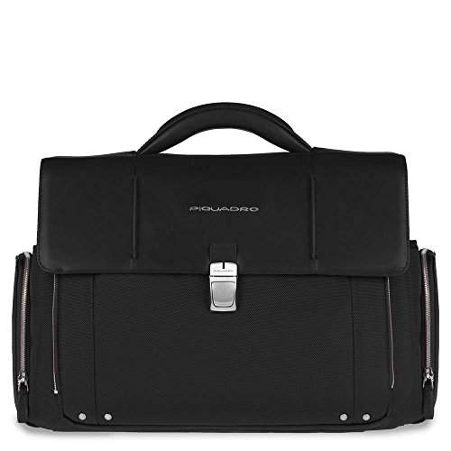 Piquadro Organized Briefcase with Two Front Pockets and iPad Compartment, Black, One Size by Piquadro