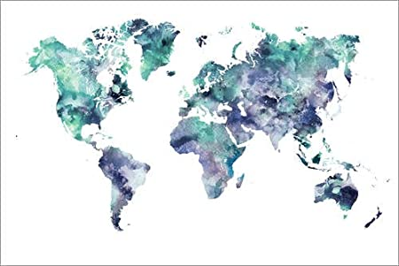 Posterlounge canvas print 30 x 20 cm world map aquamarine by dani posterlounge canvas print 30 x 20 cm world map aquamarine by dani wijeyesinghe ready gumiabroncs Images