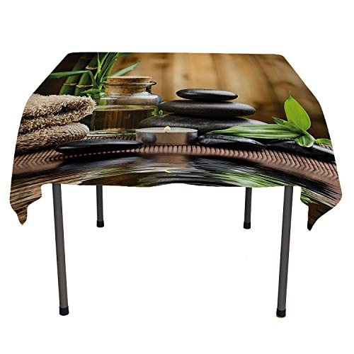 All of better Spa Decor Tablecloth Custom Asian Zen Massage Stone Triplets with Herbal Oil and Scent Candles Sand Brown Green Warm Table Cloth Spring/Summer/Party/Picnic 36 by 36